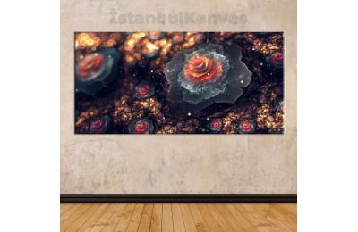 sye28 - Dekoratif Soyut Çiçekler Kanvas Tablo