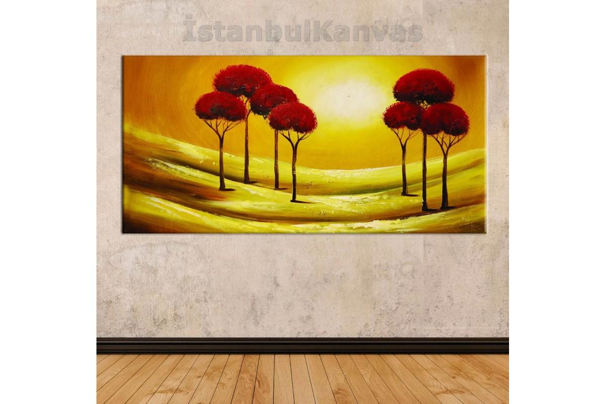 sye30 - Yağlı Boya Görünümlü Ağaçlar Soyut Kanvas Tablo