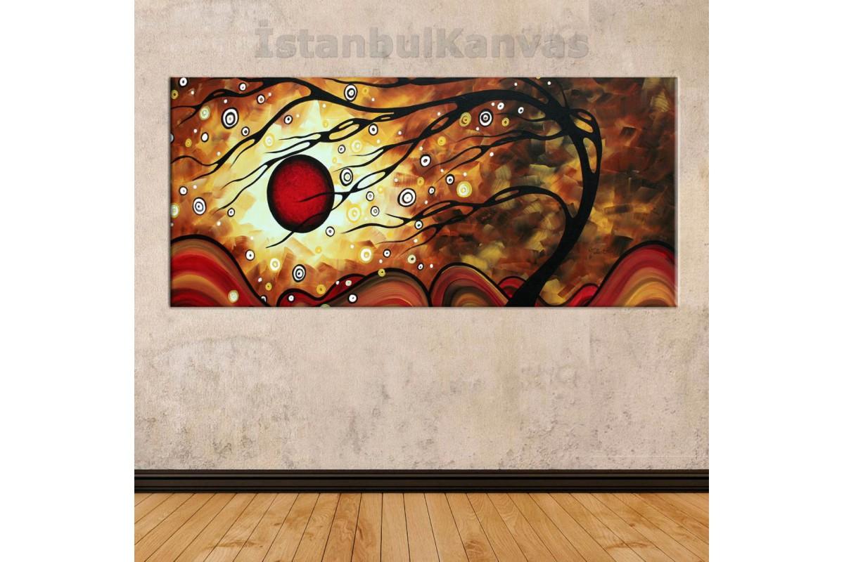 sye31 - Yağlı Boya Görünümlü Ağaç Soyut Kanvas Tablo