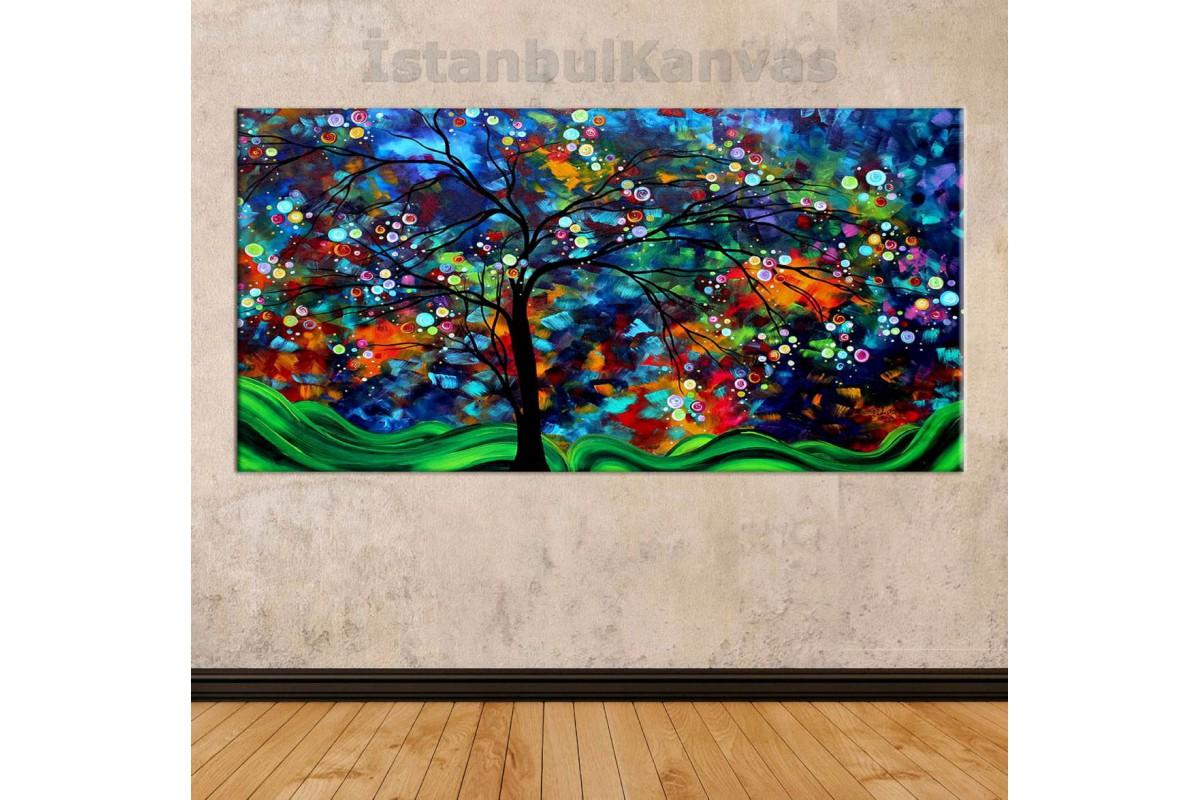 sye32 - Yağlı Boya Görünümlü Rengarenk Ağaç - Soyut Kanvas Tablo