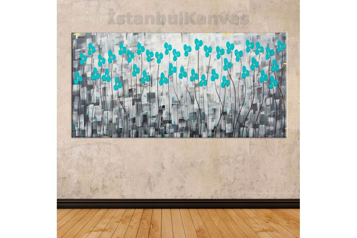 sye34 - Yağlı boya görünüm Mavi Çiçekler - Soyut Kanvas Tablo