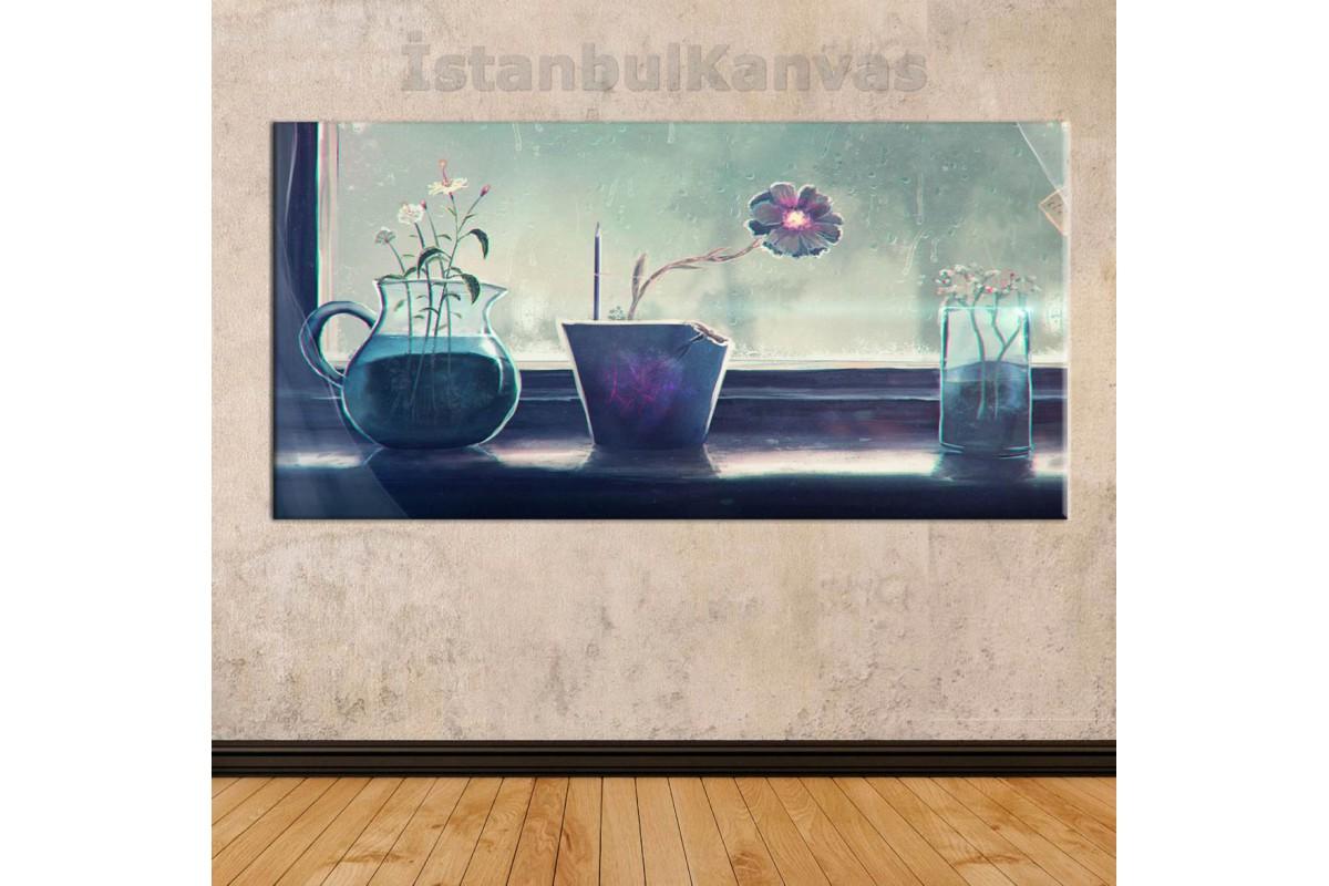 sye35 - Cam Kenarındaki Saksılar - Dekoratif Soyut Kanvas Tablo