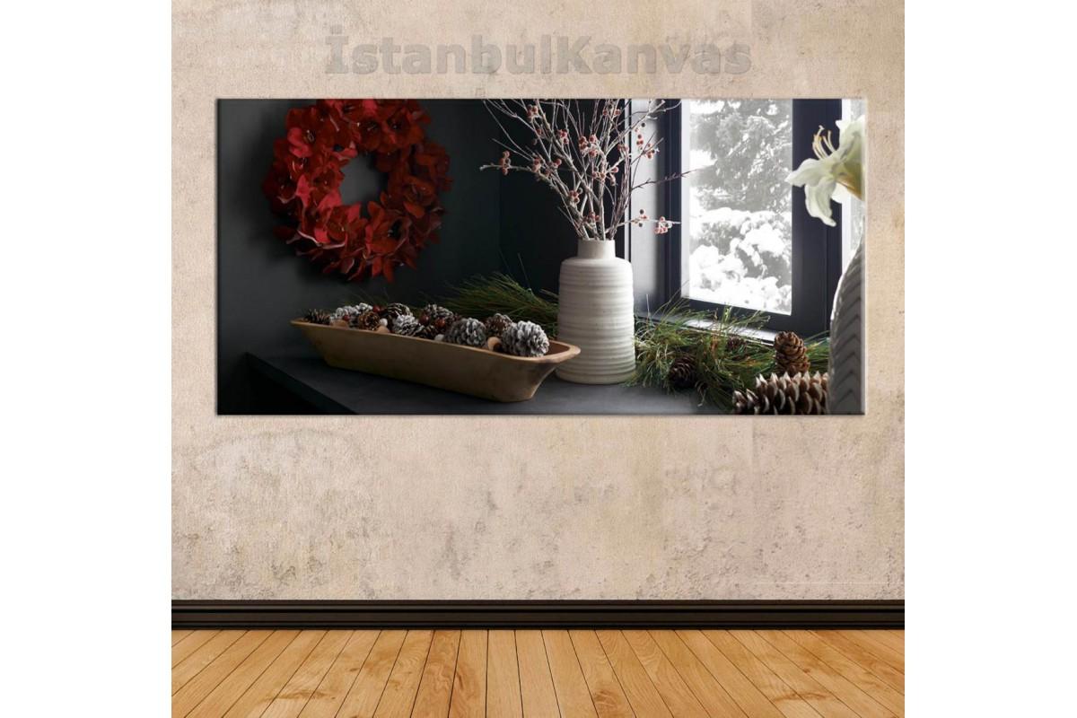sye37 - Cam Kenarındaki Çiçekler - Dekoratif Soyut Kanvas Tablo