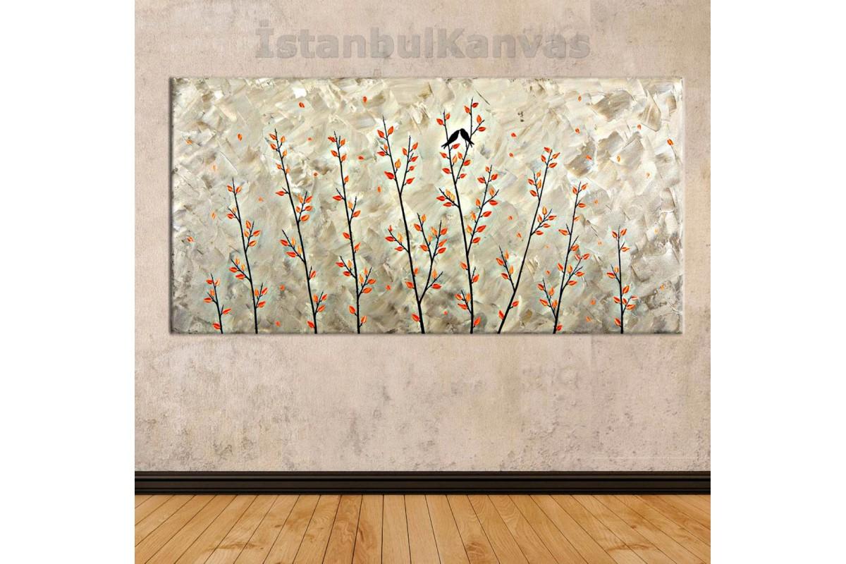 sye39 - Renkli Yapraklar ve Öpüşen Kuşlar - Dekoratif Soyut Kanvas Tablo