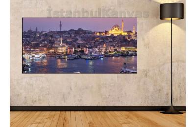 sye4 - İstanbul Eminönü Gece Manzarası Kanvas Tablo