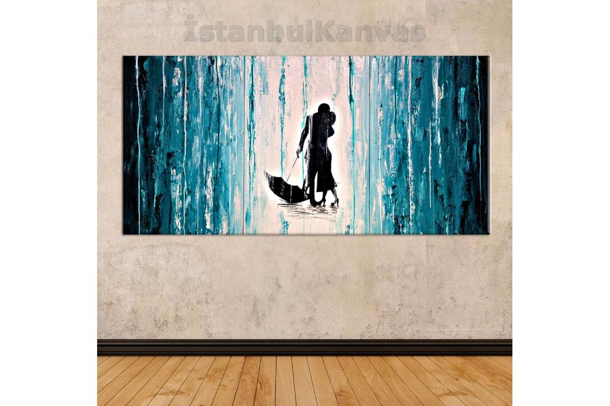 sye43 - Yağlı boya Görünümlü Sevgililer - Dekoratif Soyut Kanvas Tablo