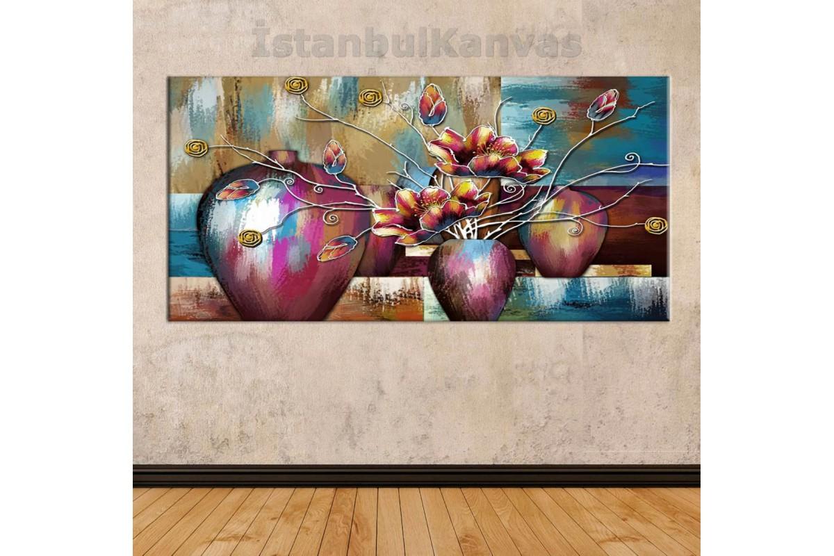 sye44 - Yağlı boya Görünümlü Saksı ve Çiçekler - Dekoratif Soyut Kanvas Tablo
