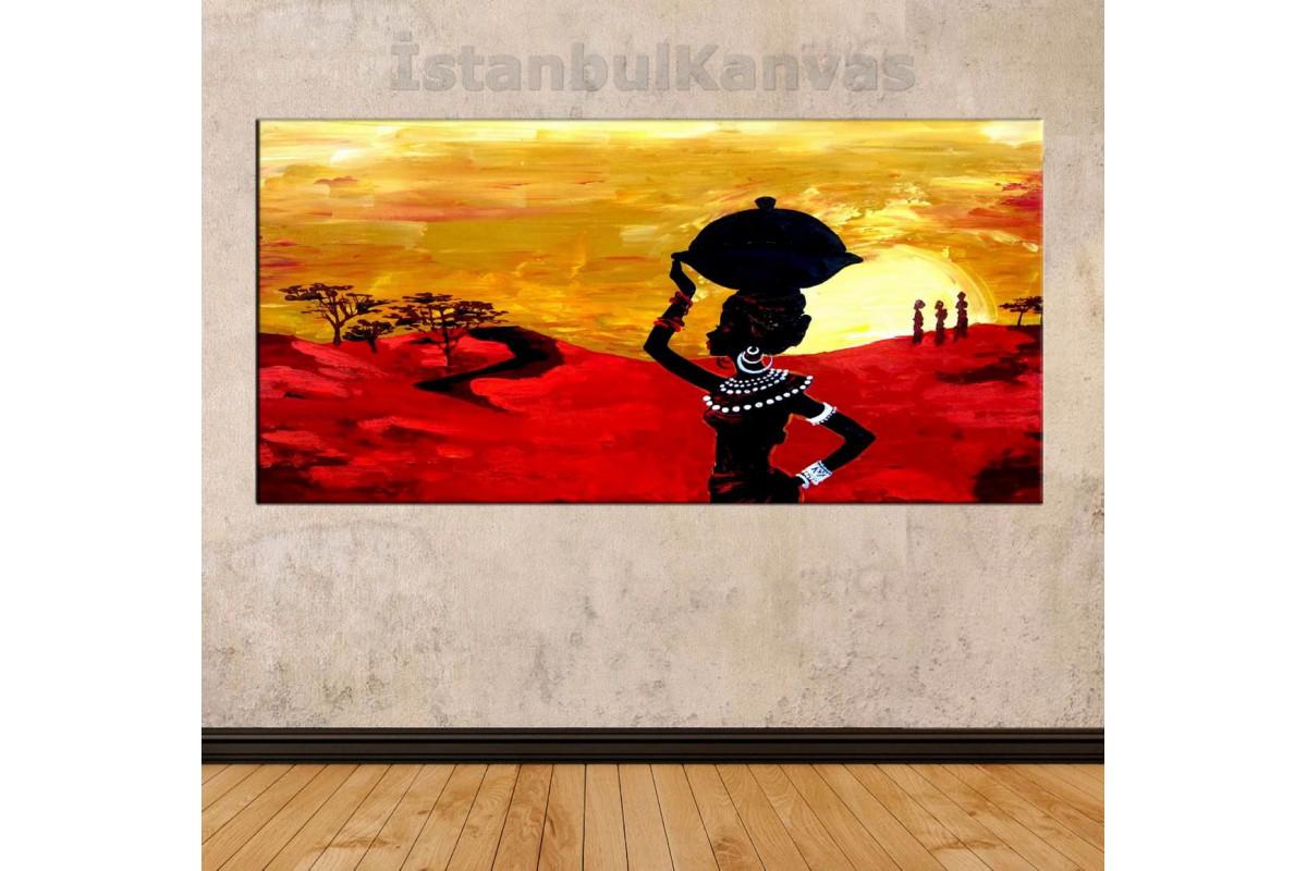 sye47 - Yağlı boya Görünümlü Afrikalı Kadınlar - Dekoratif Soyut Kanvas Tablo
