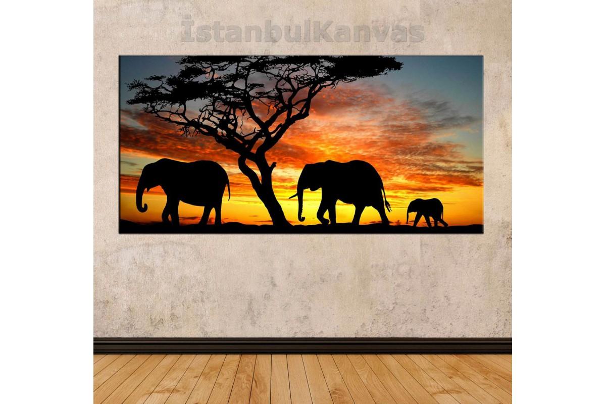 sye50 - Afrika ve Filler Temalı Dekoratif Soyut Kanvas Tablo