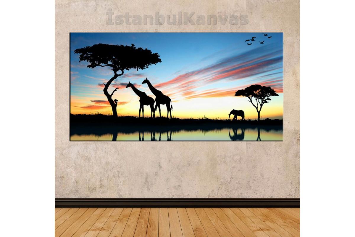 sye51 - Afrika, Filler ve Zürafalar Temalı Dekoratif Soyut Kanvas Tablo