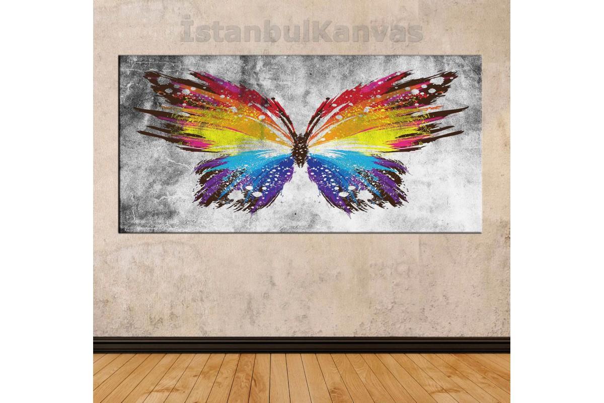 sye54 - Yağlı Boya Görünümlü Rengarenk Kelebek - Dekoratif Soyut Kanvas Tablo