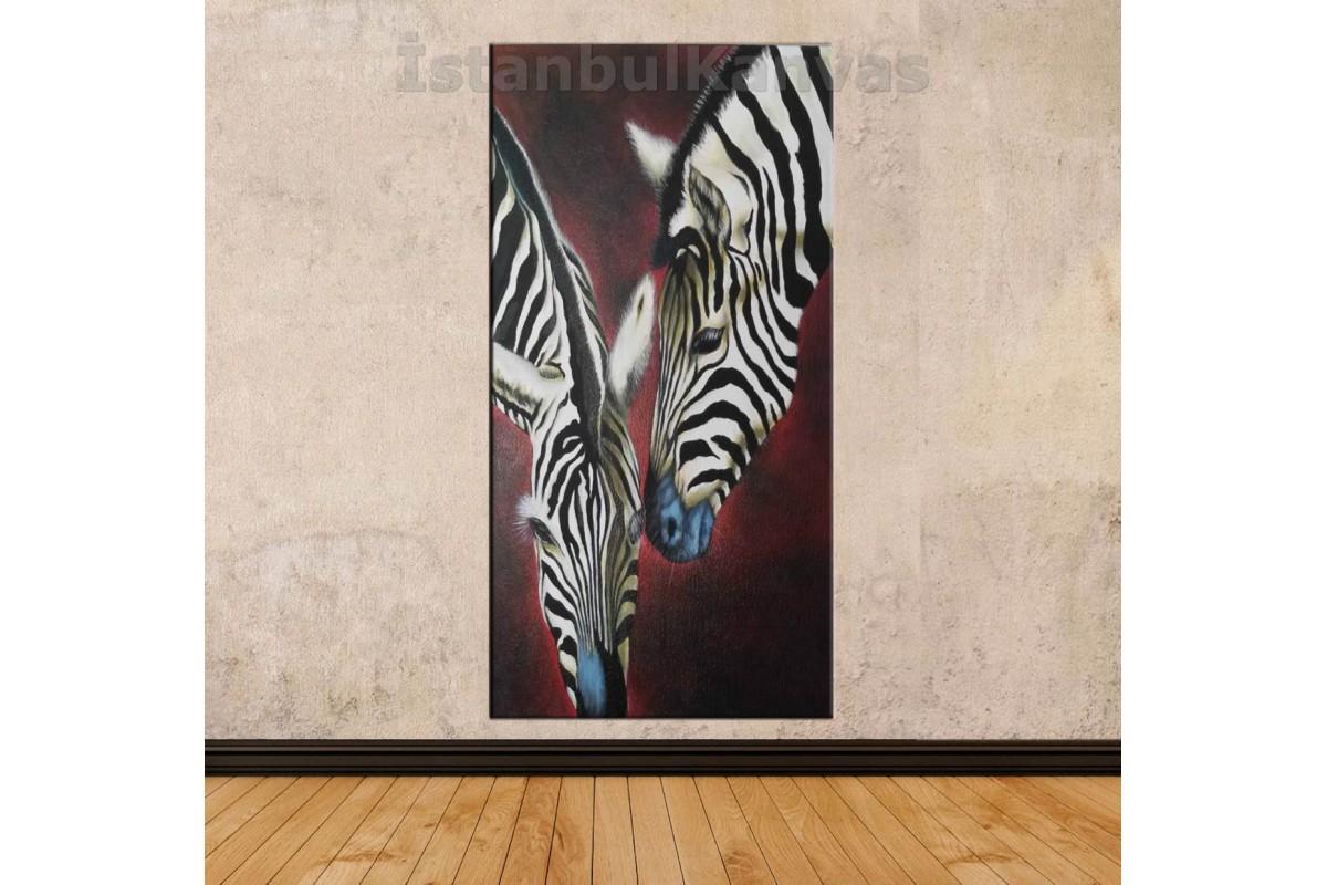 sye56 - Yağlı Boya Görünümlü Zebralar - Dekoratif Soyut Kanvas Tablo