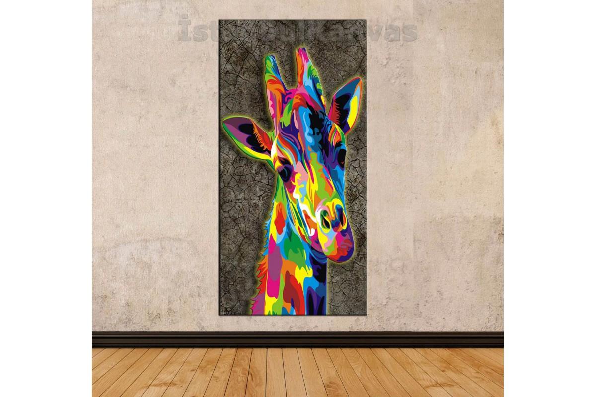 Sye57 Yagli Boya Gorunumlu Renkli Zurafa Dekoratif Soyut