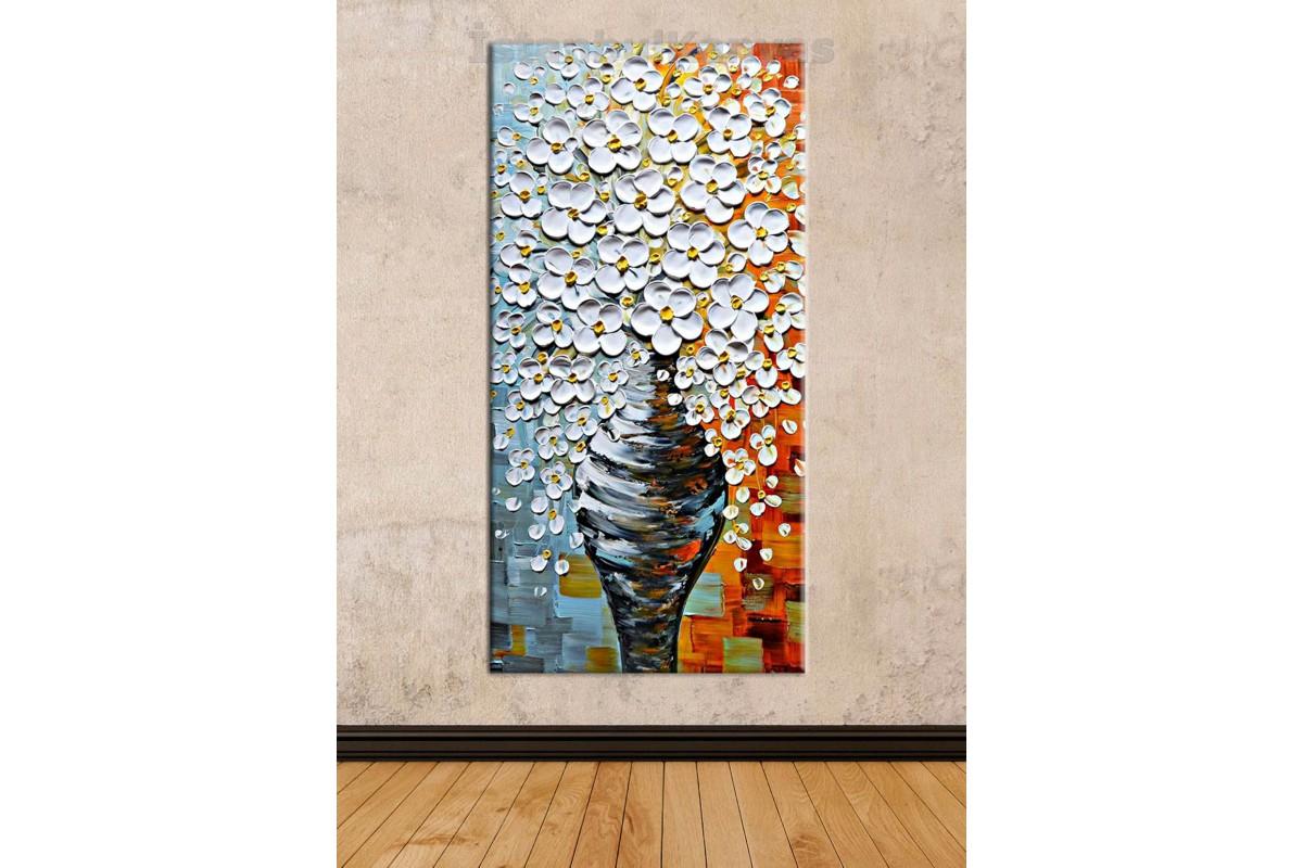 sye58 - Yağlı Boya Görünümlü Vazo ve Çiçekler - Dekoratif Soyut Kanvas Tablo