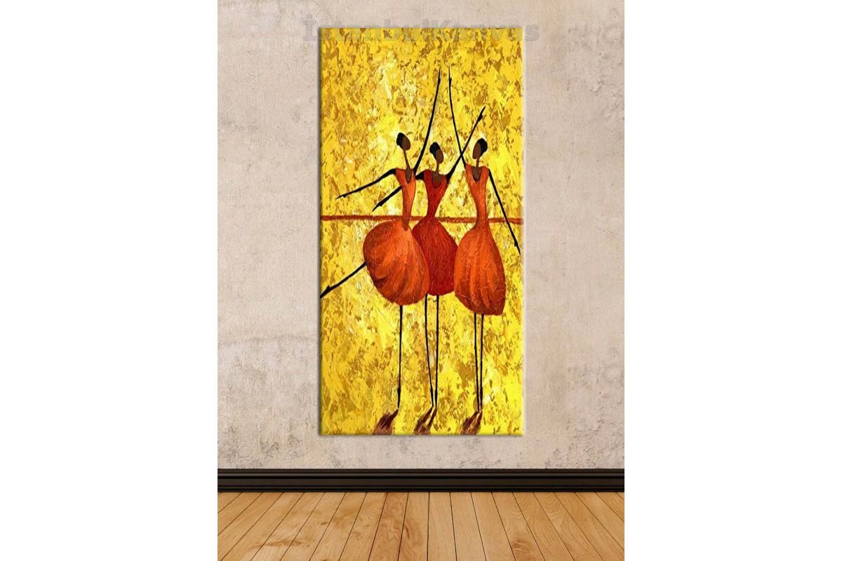 sye59 - Yağlı Boya Görünümlü Balerinler - Dekoratif Soyut Kanvas Tablo