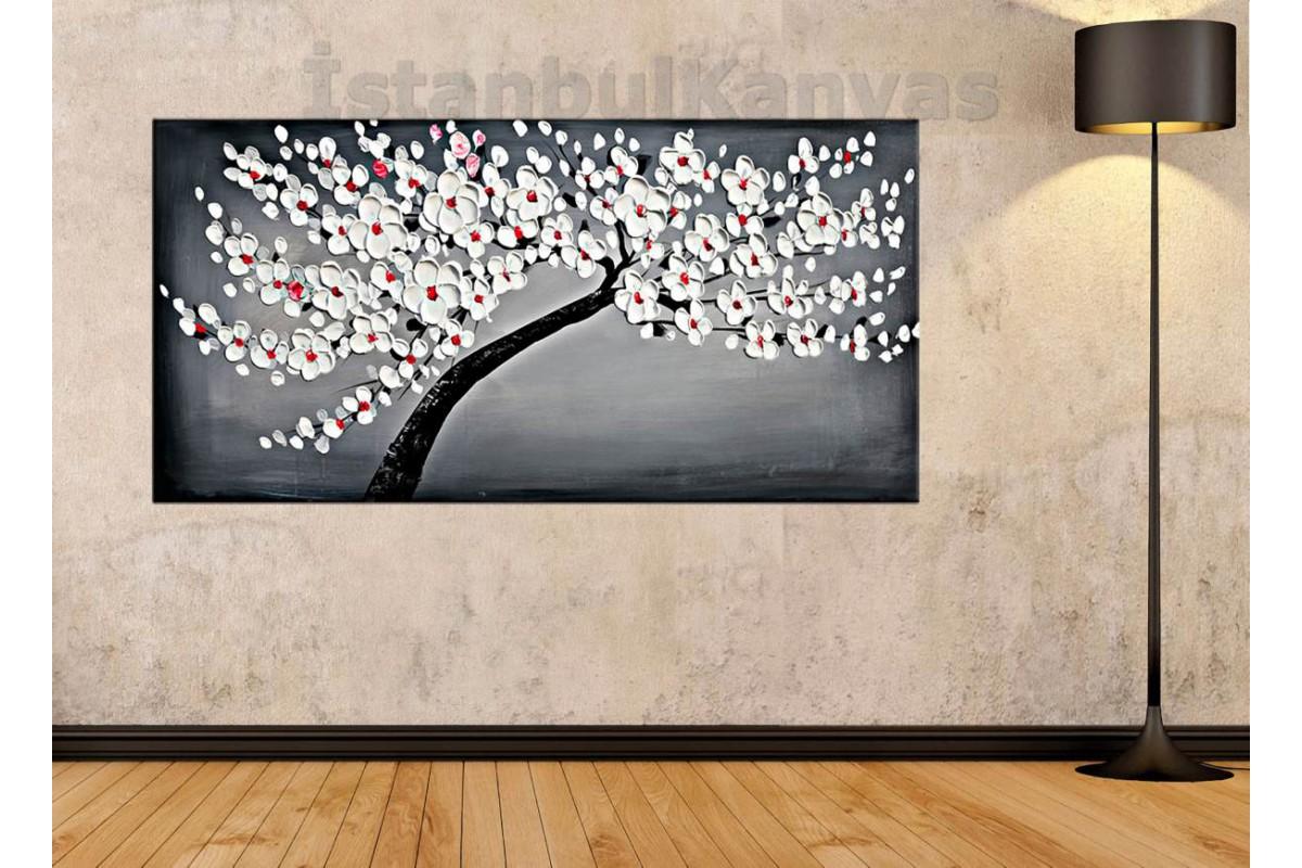 sye61 - Yağlı Boya Görünümlü Çiçekli Ağaç - Dekoratif Soyut Kanvas Tablo