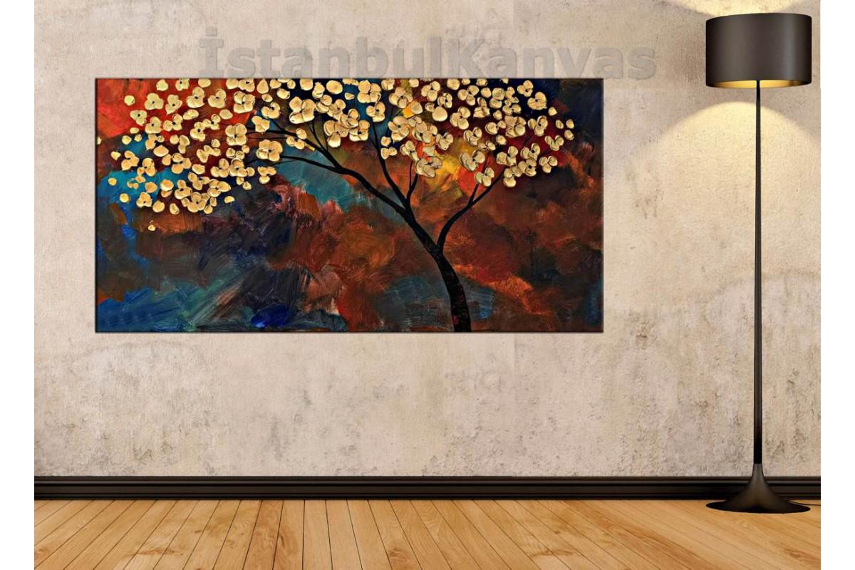 sye62 - Yağlı Boya Görünümlü Çiçekli Ağaç - Dekoratif Soyut Kanvas Tablo