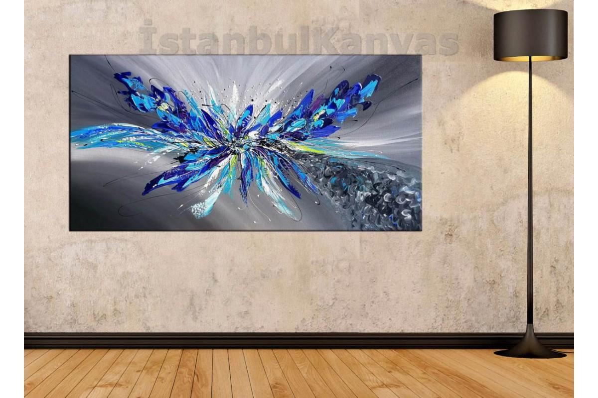 sye63 - Yağlı Boya Görünümlü Kelebek - Dekoratif Soyut Kanvas Tablo