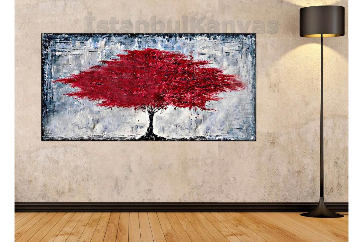 sye64 - Yağlı Boya Görünümlü Kırmızı Yapraklı Ağaç - Dekoratif Soyut Kanvas Tablo