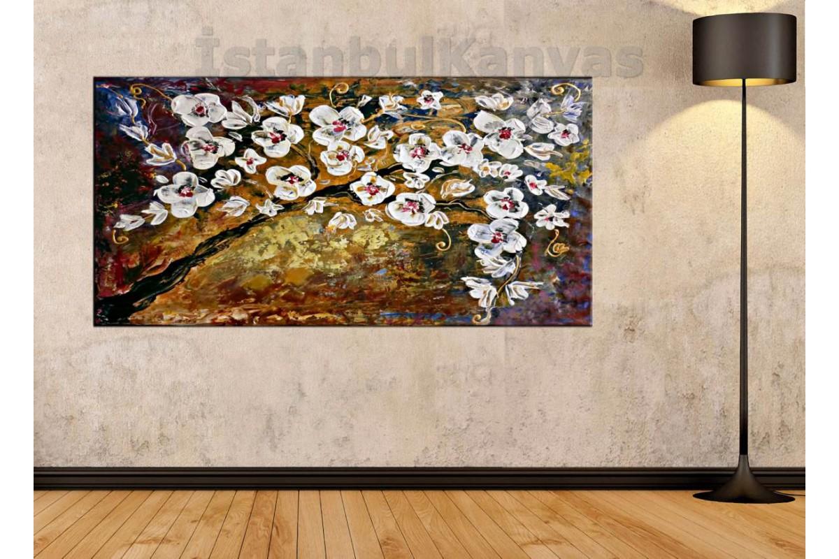 sye66 - Yağlı Boya Görünüm Ağaç ve Beyaz Çiçekler - Dekoratif Soyut Kanvas Tablo