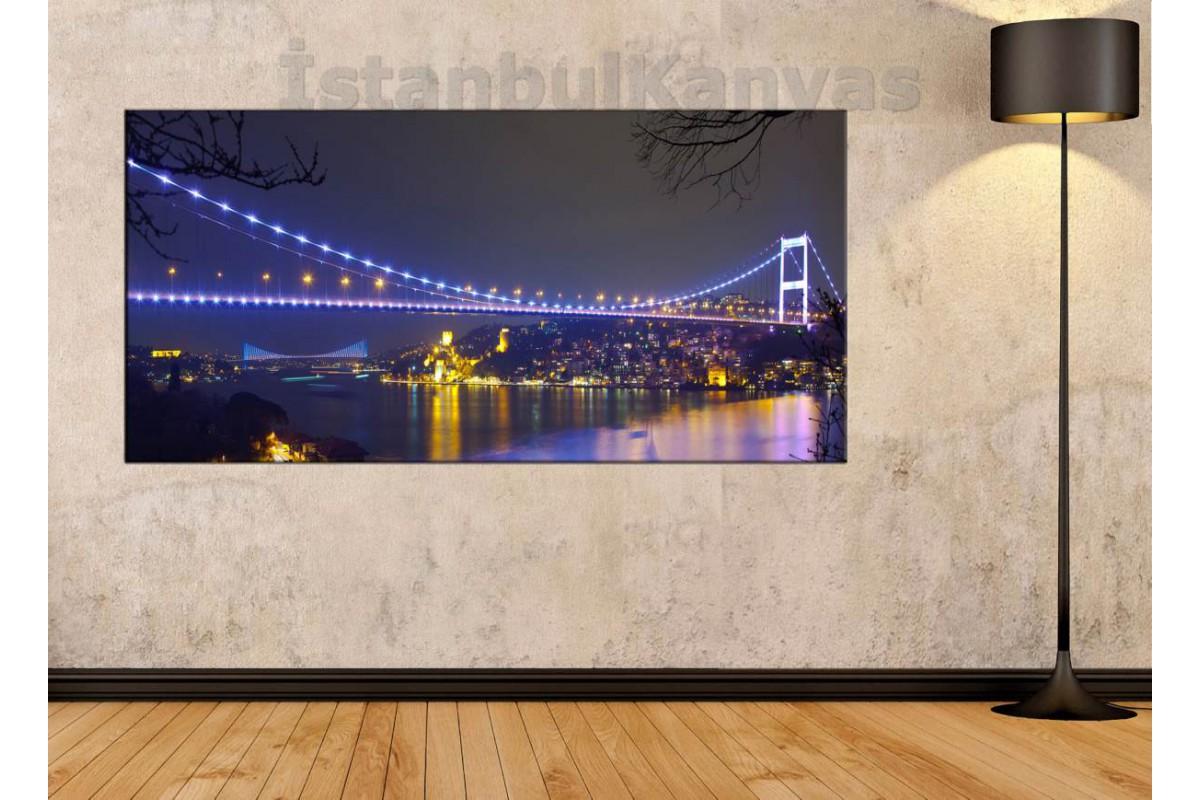 sye7 - İstanbul Boğaz ve Fatih Sultan Mehmet Köprüleri gece manzarası KANVAS TABLO