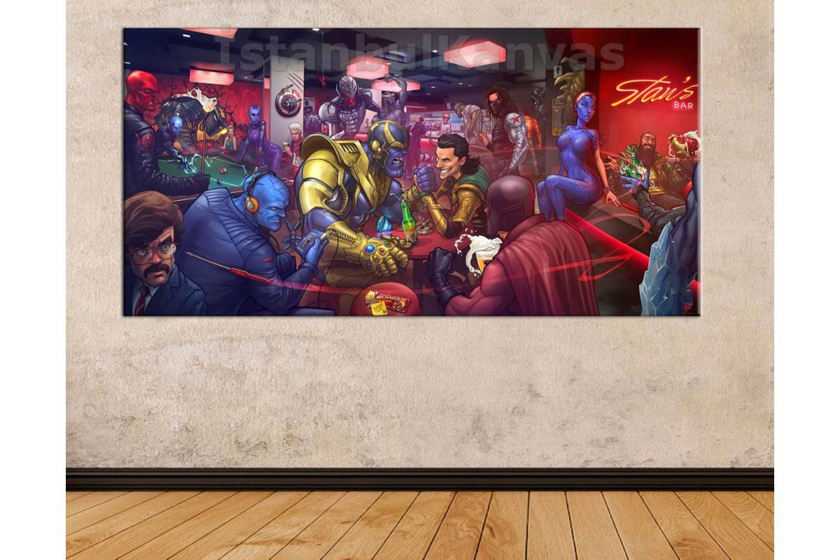 wsh12b - Marvel Villains Bar (Kötüler Barı) - Çizgi Roman - Süper kahraman kanvas tablo