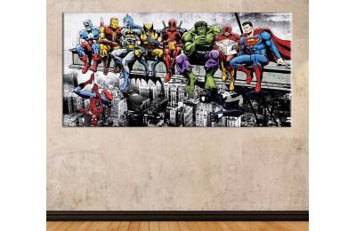 wsh40 - Kahvaltı Yapan Süper Kahramanlar, Hulk, Wolverine, Superman, Spiderman kanvas tablo