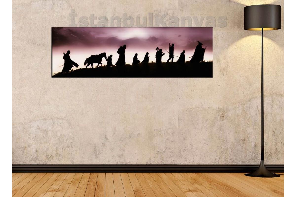srkpan26 - Yüzüklerin Efendisi, Yüzük Kardeşliği, LOTR-Fellowship-Panoramik-Panorama tablo 80x25cm