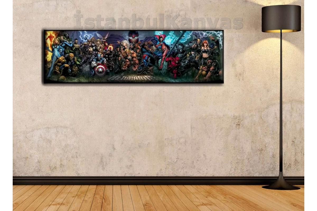 wsh10 - Marvel Evreni - Çizgi Roman - Süper kahraman kanvas tablo - 25x80cm
