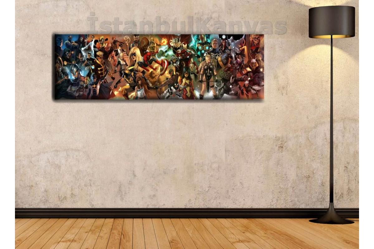 wsh11 - Marvel Evreni - Çizgi Roman - Süper kahraman kanvas tablo - 25x80cm