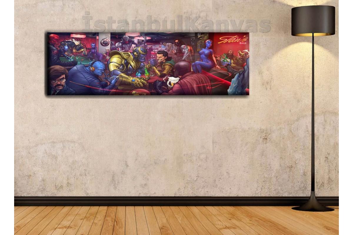 wsh12 - Marvel Villains Bar (Kötüler Barı) - Çizgi Roman - Süper kahraman kanvas tablo - 25x80cm