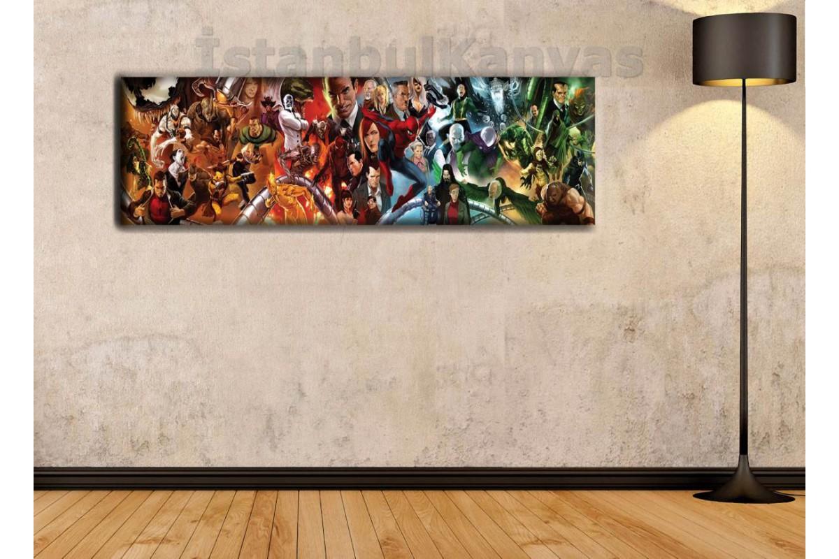 wsh14 - Spiderman Universe-Örümcek Adam Evreni- Çizgi Roman - Süper kahraman kanvas tablo - 25x80cm