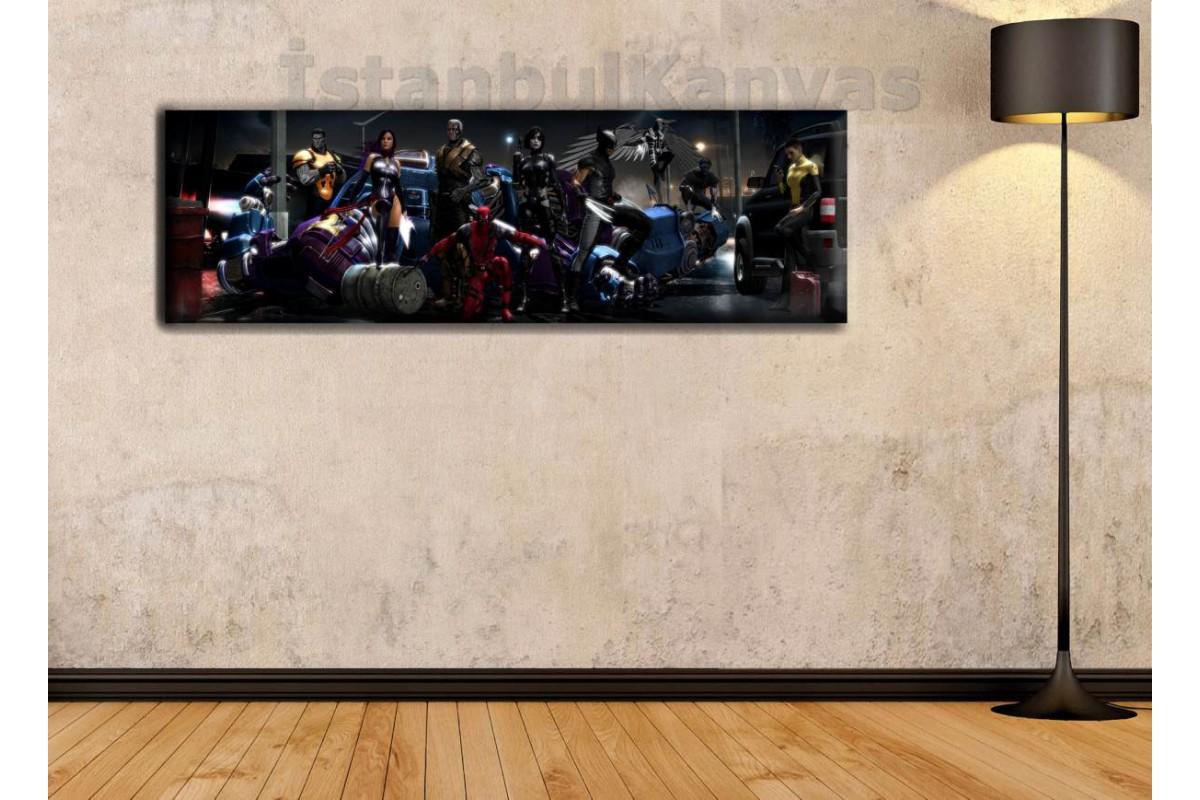 wsh19 - Deadpool X-Force - Çizgi Roman - Süper kahraman kanvas tablo - 25x80cm