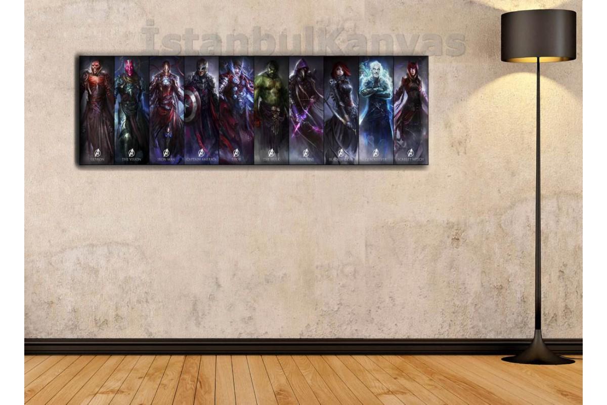 wsh21 - Çok Farklı Soyut Avengers Çalışması - Çizgi Roman - Süper kahraman kanvas tablo - 25x80cm