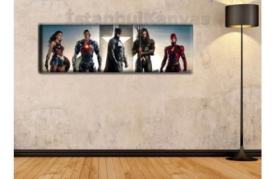 wsh22 - Justice League - Çizgi Roman - Süper kahraman kanvas tablo - 25x80cm