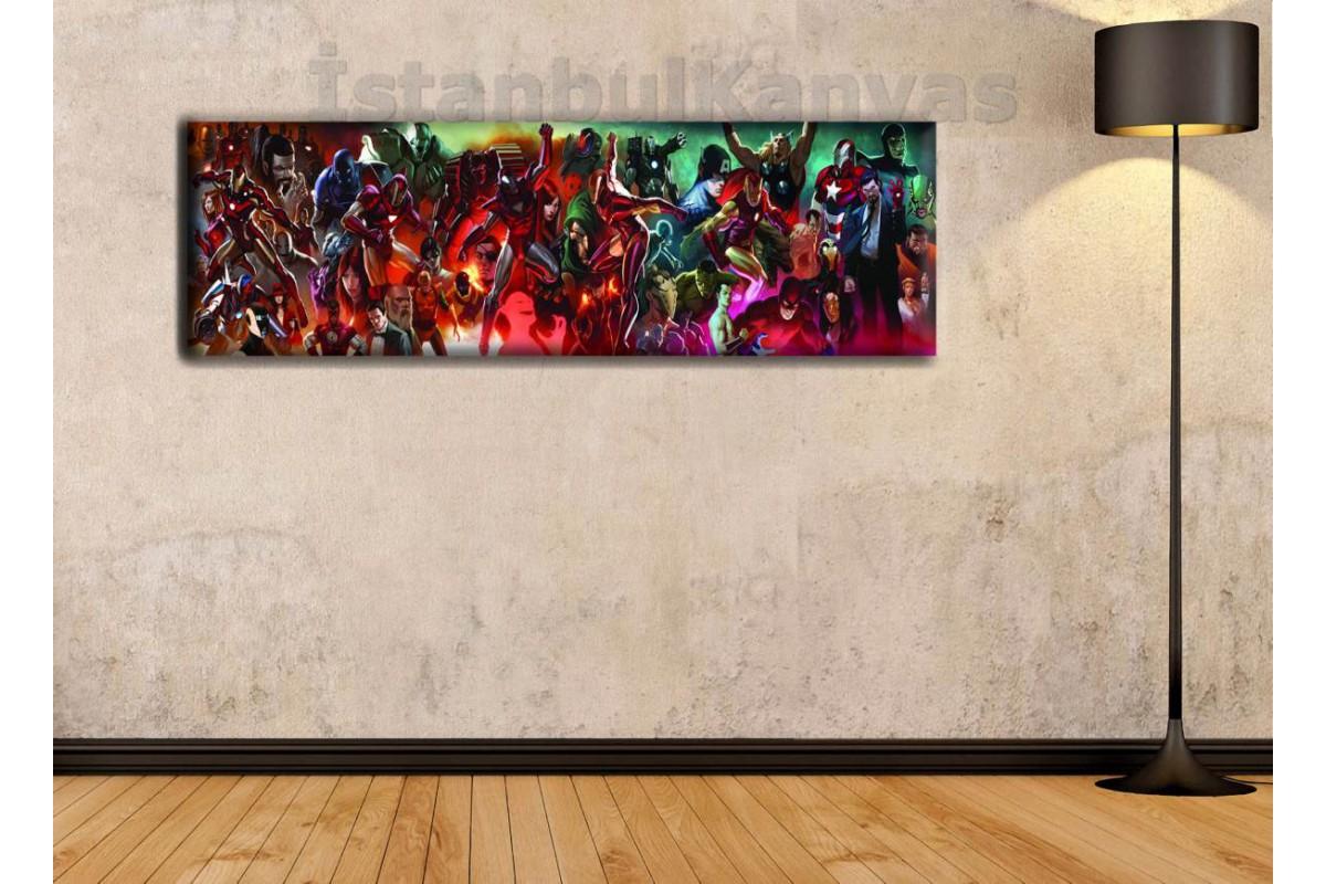 wsh23 - Iron Man Evreni - Demir Adam Evreni - Çizgi Roman - Süper kahraman kanvas tablo - 25x80cm