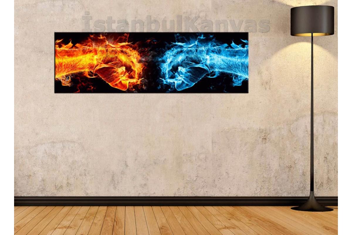 wsh27 - Soyut Buz ve Ateş Yumruklar kanvas tablo 80x25cm