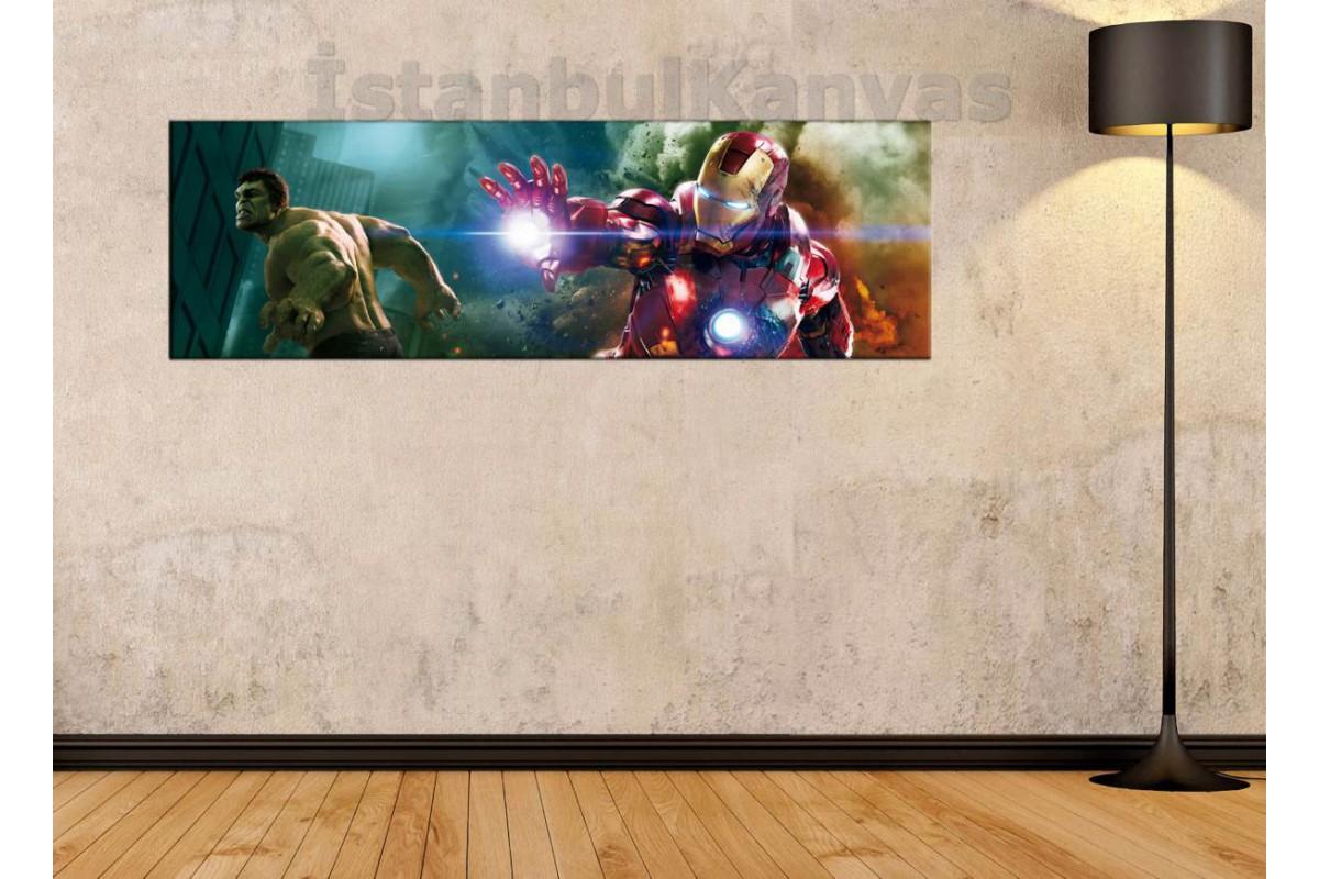 wsh28 - Hulk ve Ironman - Çizgi Roman - Süper kahraman kanvas tablo - 25x80cm