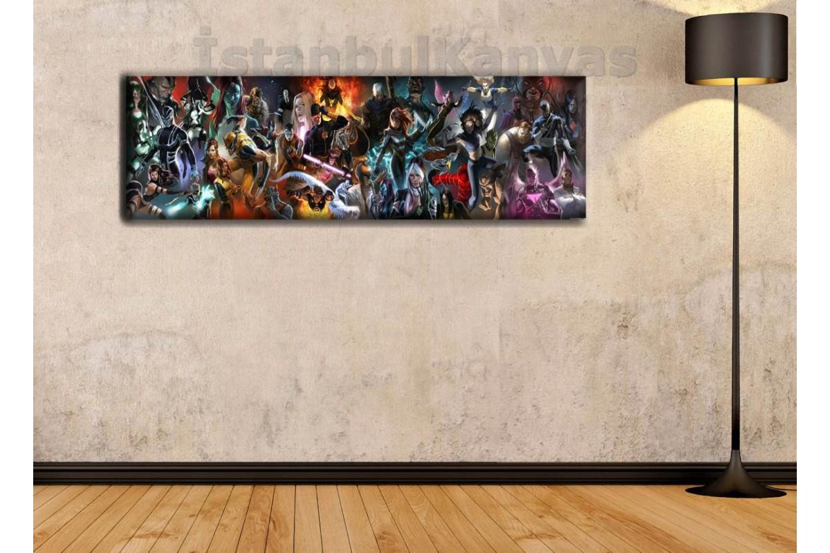 wsh3 - X-Men Mutant Evreni, Çizgi Roman - Süper kahraman kanvas tablo - 25x80cm