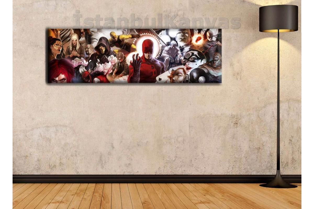 wsh4 - Daredevil Evreni, Çizgi Roman - Süper kahraman kanvas tablo - 25x80cm