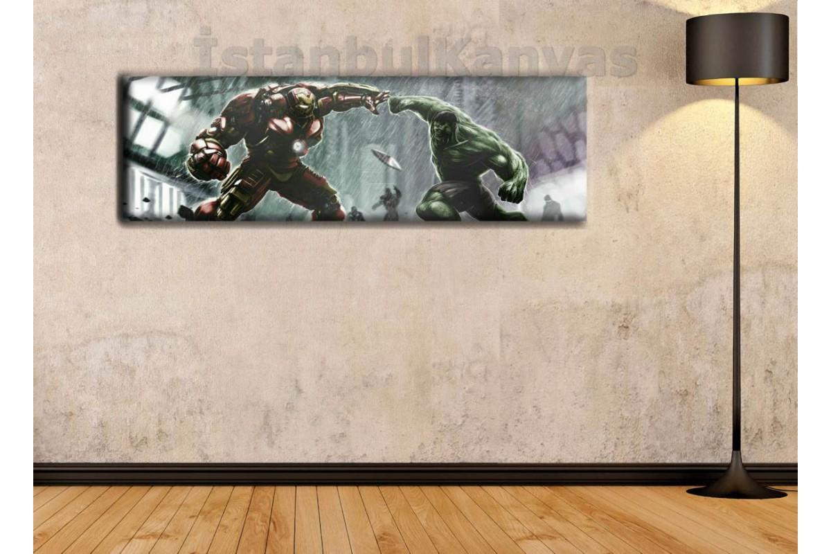 wsh6 - Hulk vs Hulkbuster - Çizgi Roman - Süper kahraman kanvas tablo - 25x80cm