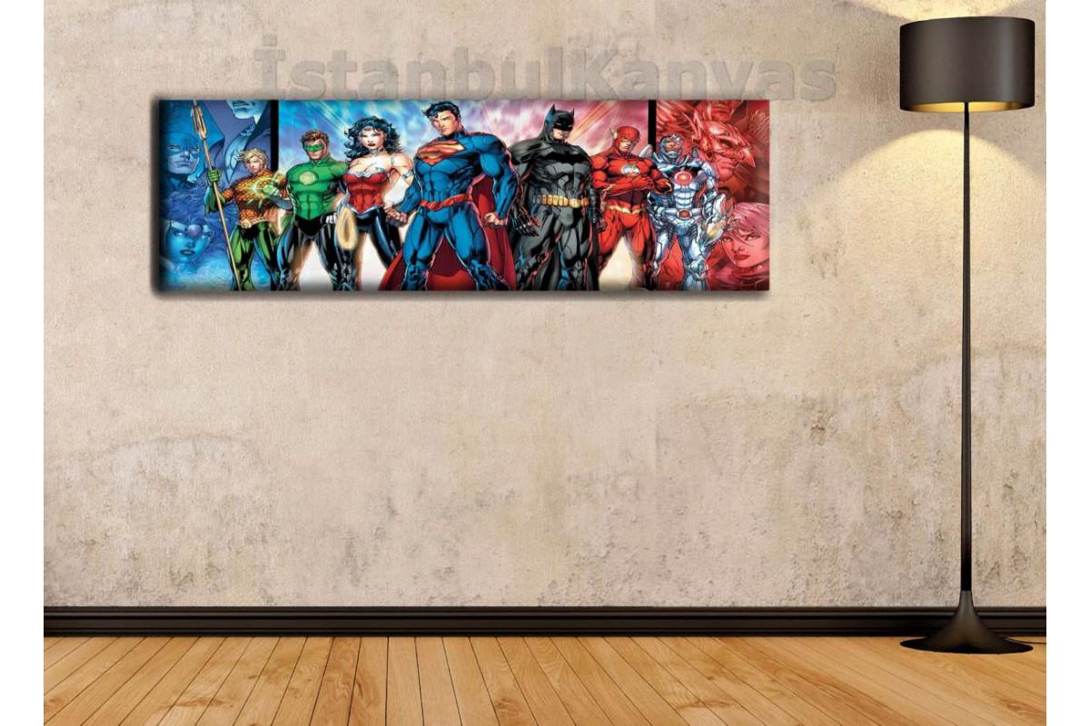 wsh8 - Justice League - Adalet Birliği - Çizgi Roman - Süper kahraman kanvas tablo - 25x80cm