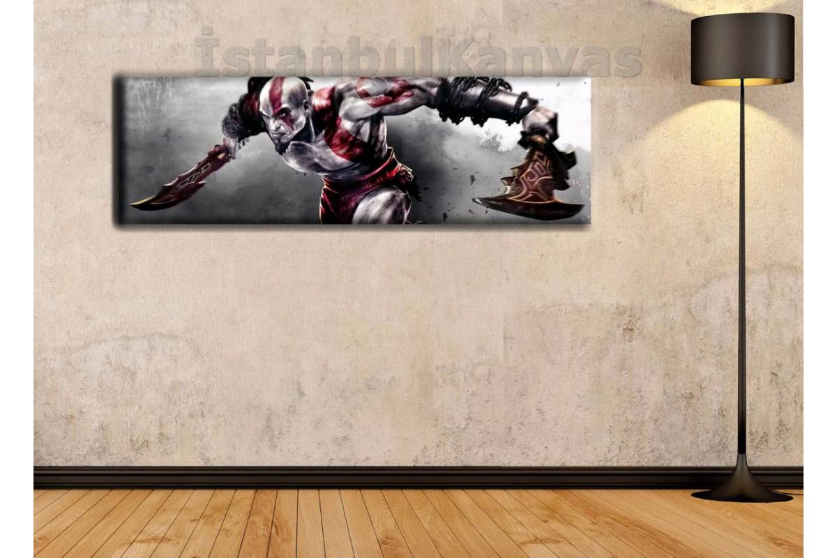 wsh9 - God of War KRATOS - Çizgi Roman - Süper kahraman kanvas tablo - 25x80cm