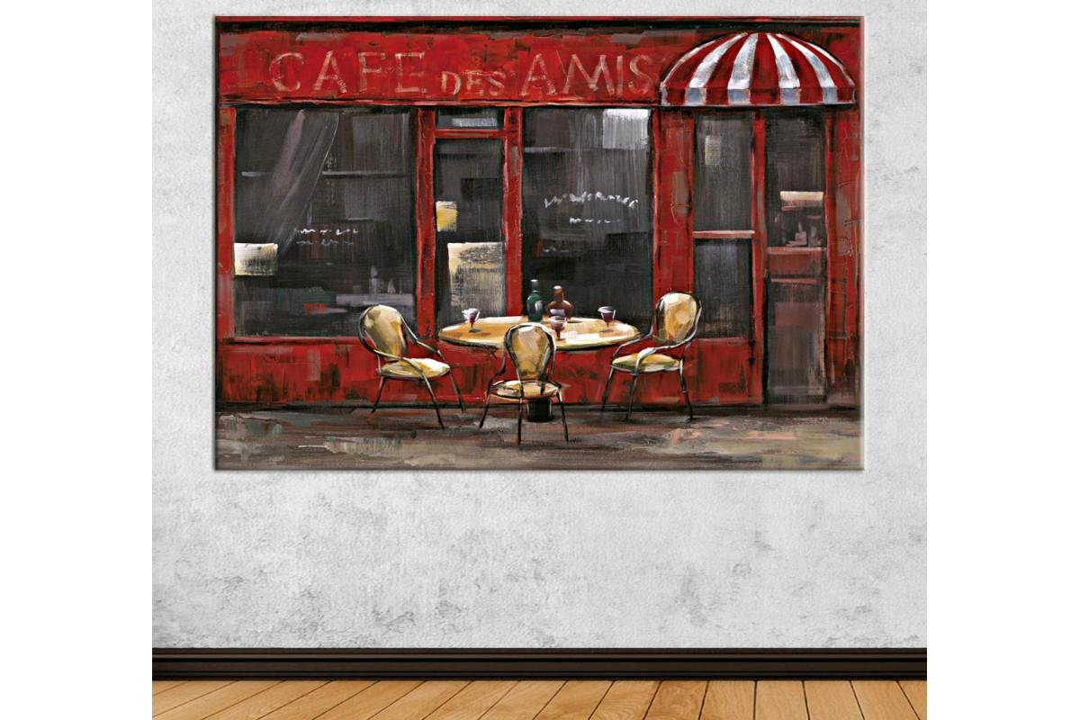 scda1 - Cafe Des Amis, Dostlar Cafe Yağlı Boya Görünümlü Kanvas Tablo
