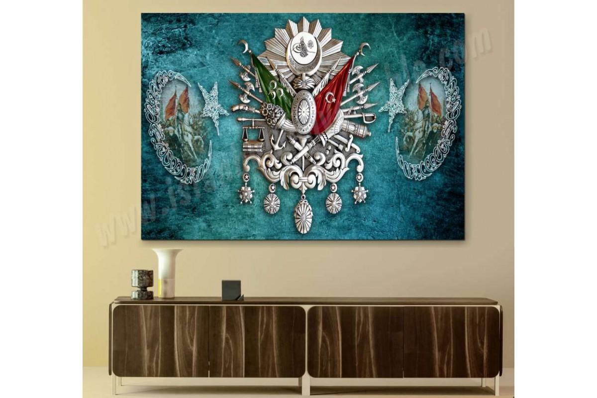 sf410 - OSMANLI ARMASI, Hat Sanatı, AY YILDIZ VE FATİH SULTAN MEHMET Kanvas Tablo