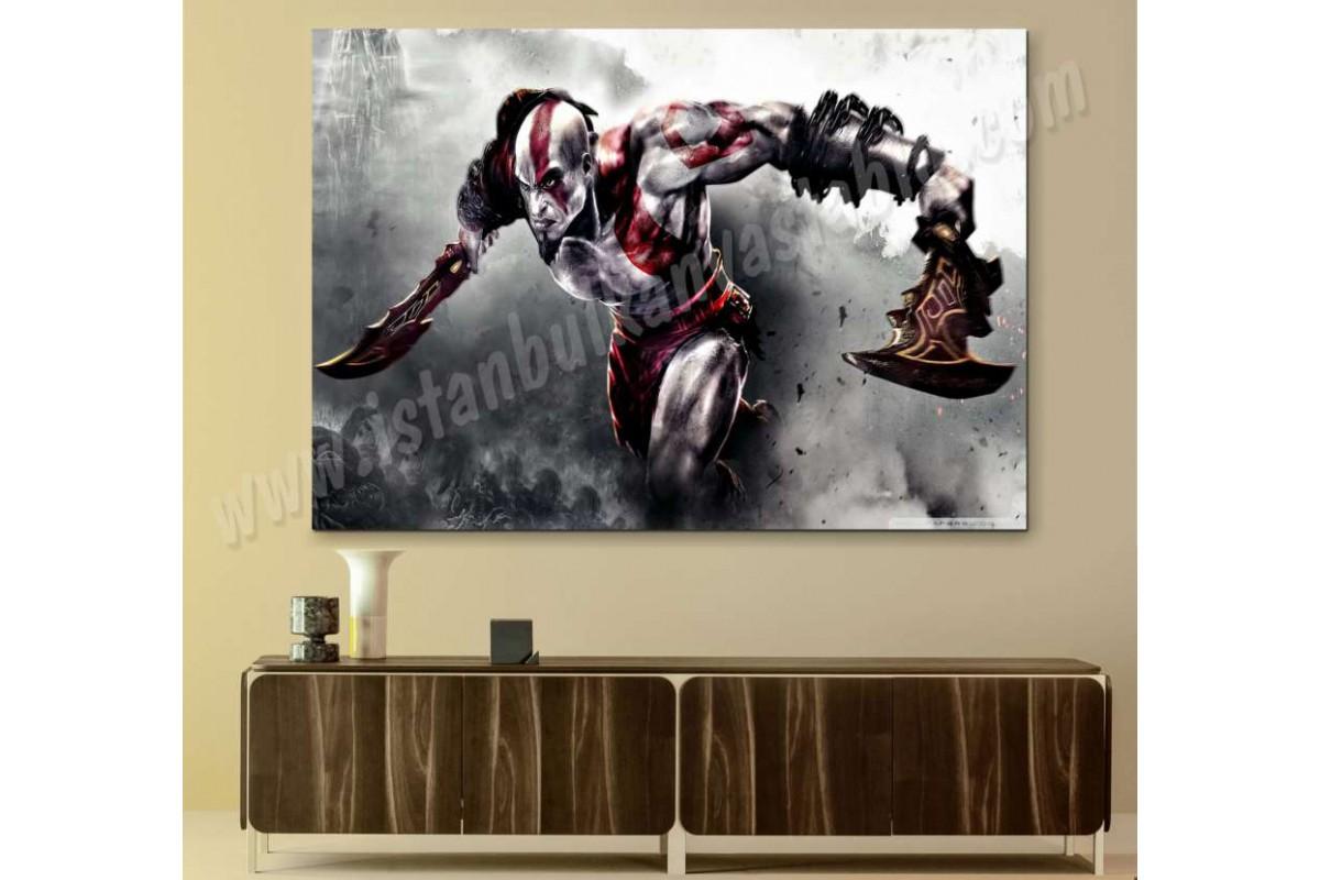 sh9b - God of War - Kratos ve Zincirli Kılıçları - Kanvas Duvar Tabloları