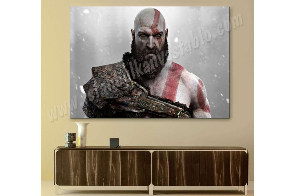 sh9c - God of War 4 - Sakallı Kratos - Dekoratif Kanvas Tablo