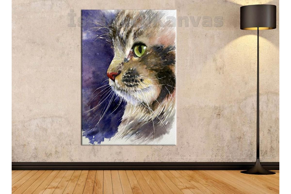 Skr11 - Soyut Yağlı Boya Görünümlü Yavru Kedi Kanvas Tablo