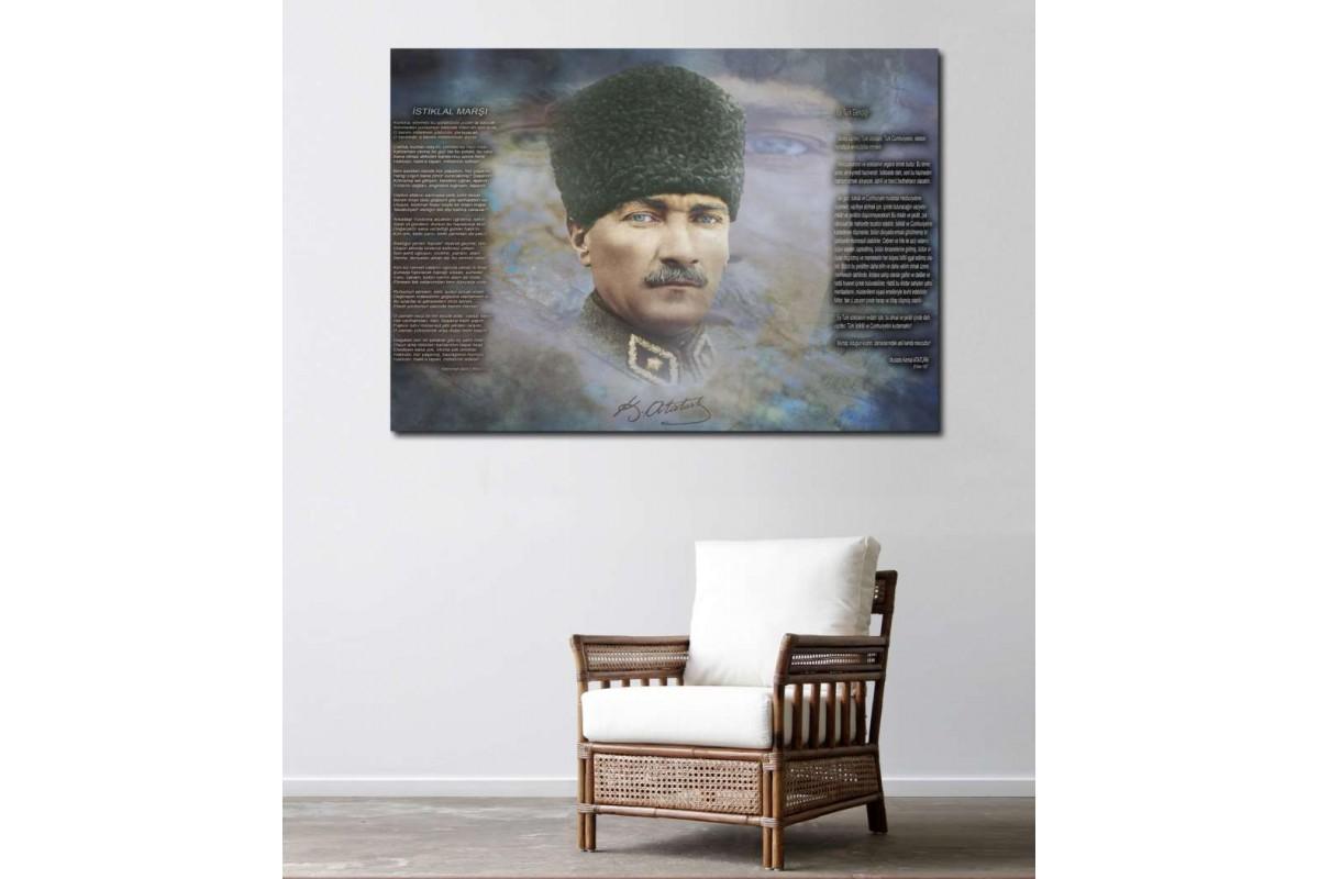 skr212b- Mustafa Kemal Atatürk, İstiklal Marşı ve Gençliğe Hitabe özel tasarım kanvas tablo