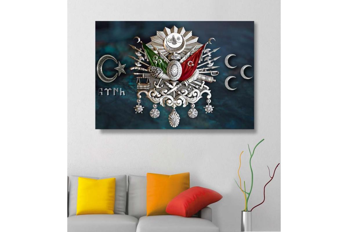 skr290 - GÜMÜŞ OSMANLI ARMA, TUĞRA, GÖKTÜRKÇE TÜRK YAZISI ve ÜÇ HİLAL tasarım kanvas tablo
